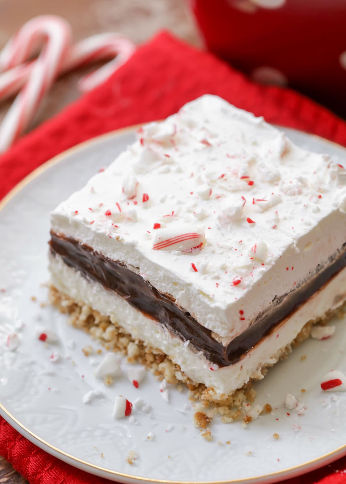 Slice of peppermint chocolate delight served on a white plate topped with crushed candy cane.