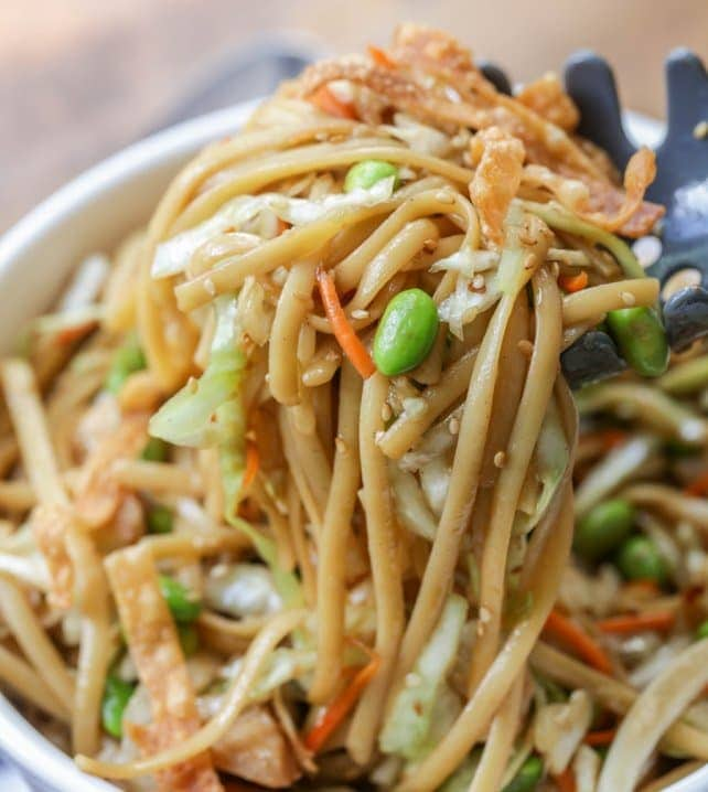 asian noodle salad in white bowl