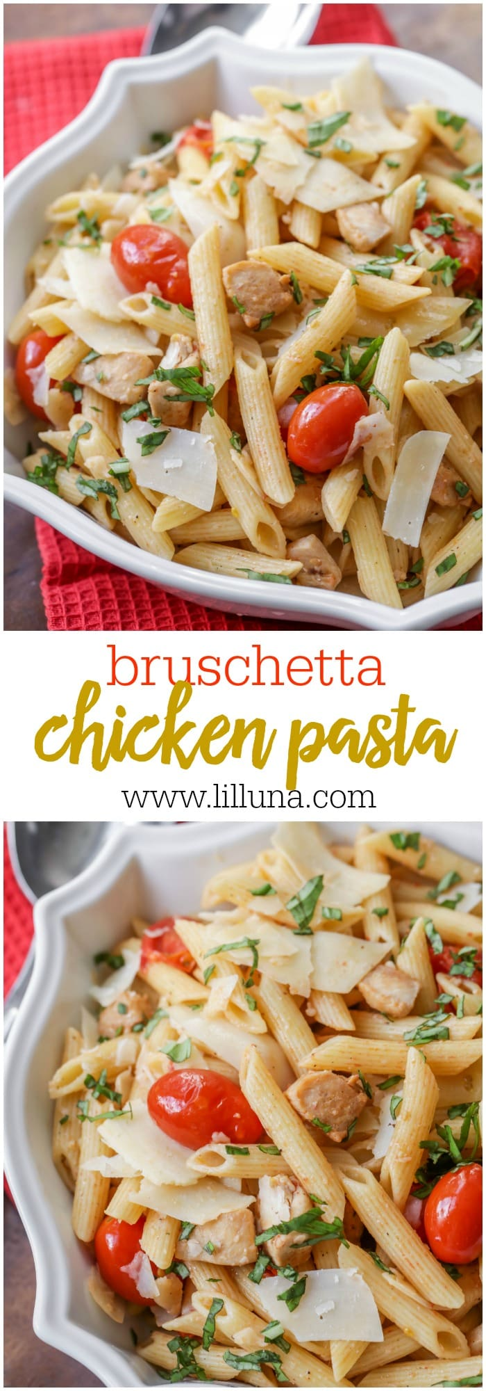 Bruschetta Chicken Pasta - perfect for barbecues and get togethers. It's filled with penne, chicken, tomatoes, basil and Parmesan!!