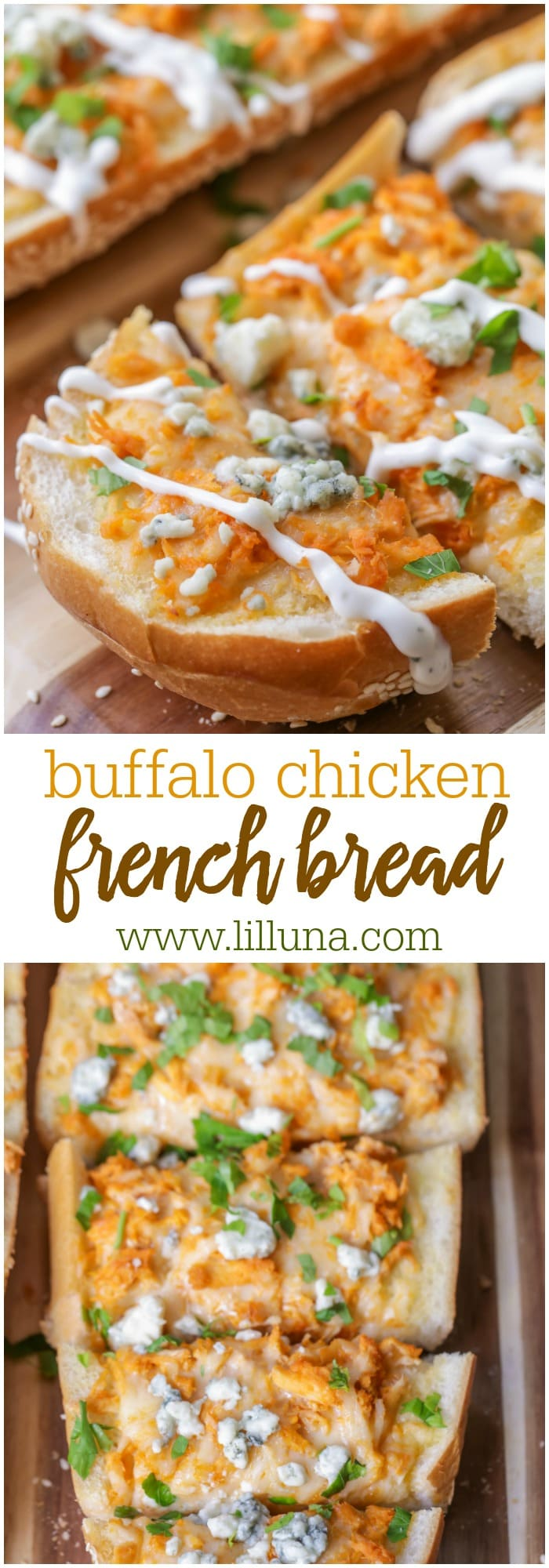 Buffalo Chicken French Bread - French bread, shredded chicken, buffalo sauce, white cheddar and blue cheese - SO yummy! You're gonna love this recipe!