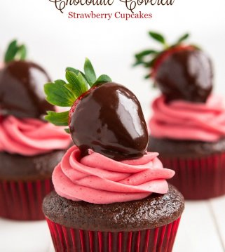 """Say """"I love you!"""" this Valentine's Day with these delectable rich Chocolate Covered Strawberry Cupcakes!"""