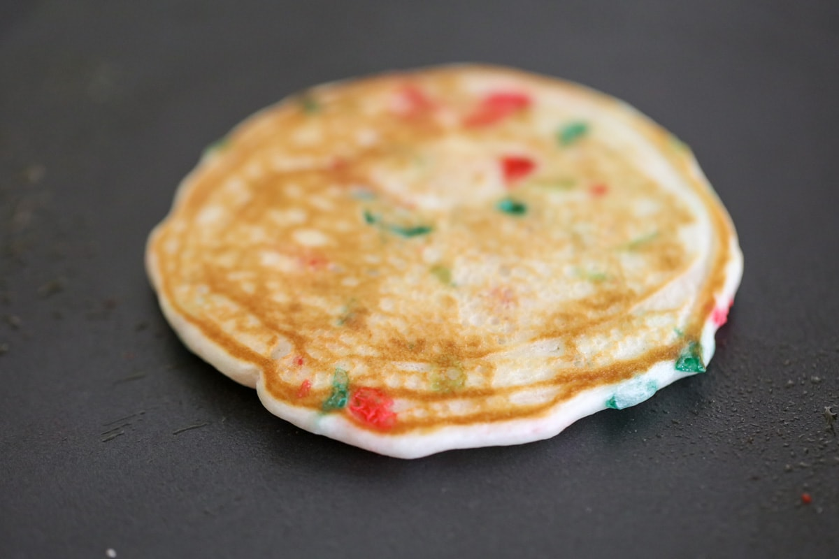 Christmas pancakes on griddle