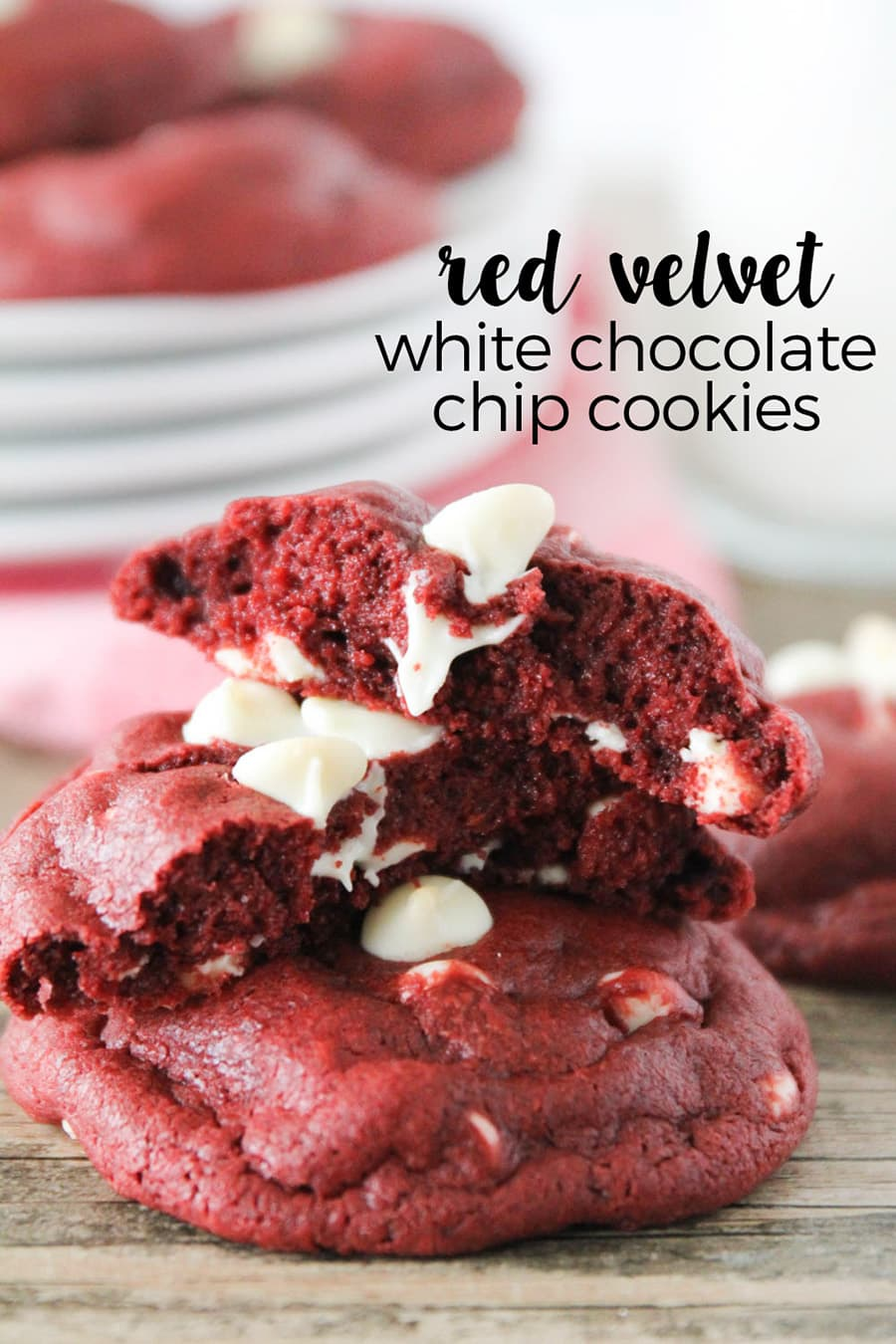 Red Velvet White Chocolate Chip Cookies - a red velvet cookie, loaded with white chocolate chips, and underbaked to perfection! SO YUMMY!