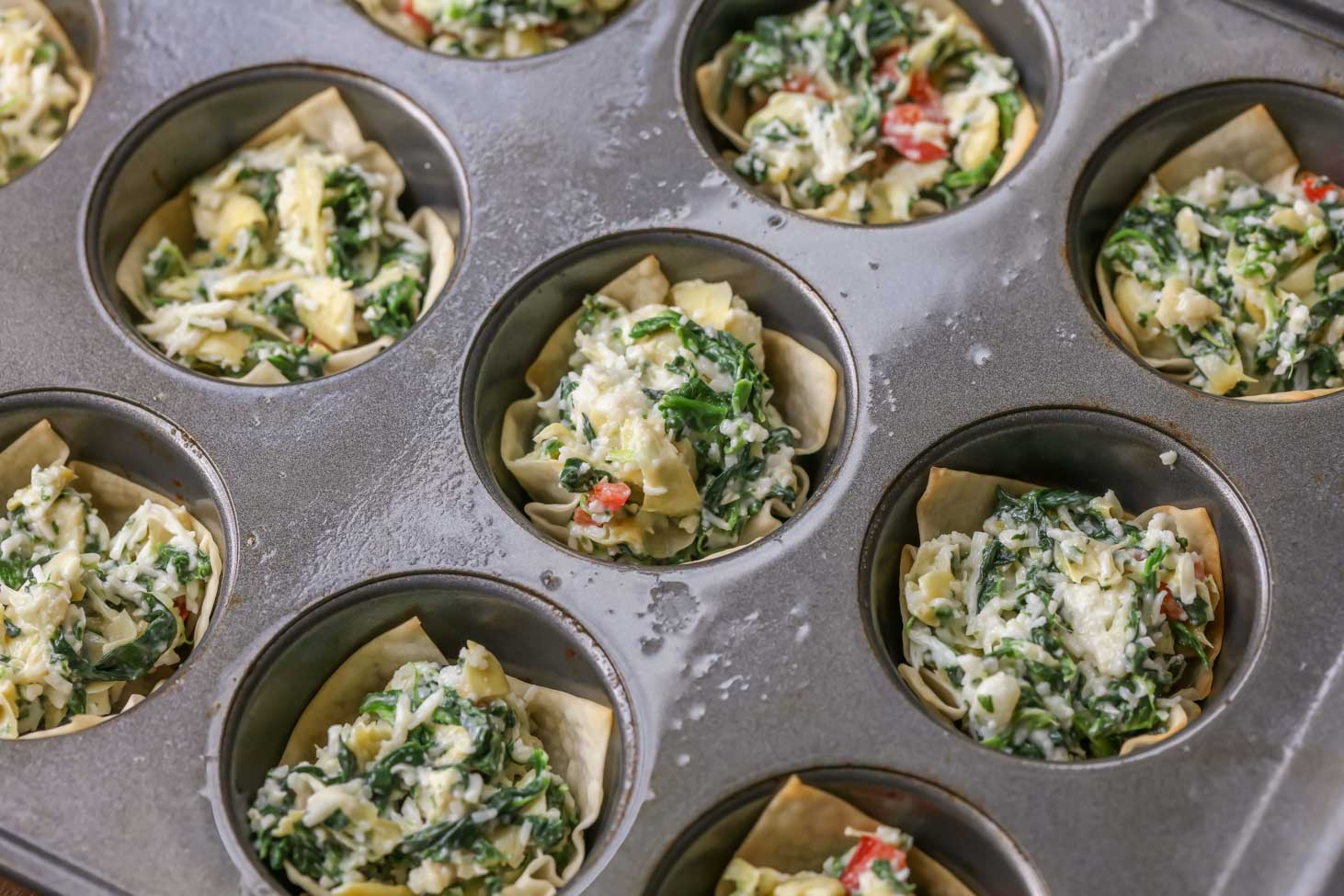 How to Make Spinach Artichoke Cups in Muffin Tins