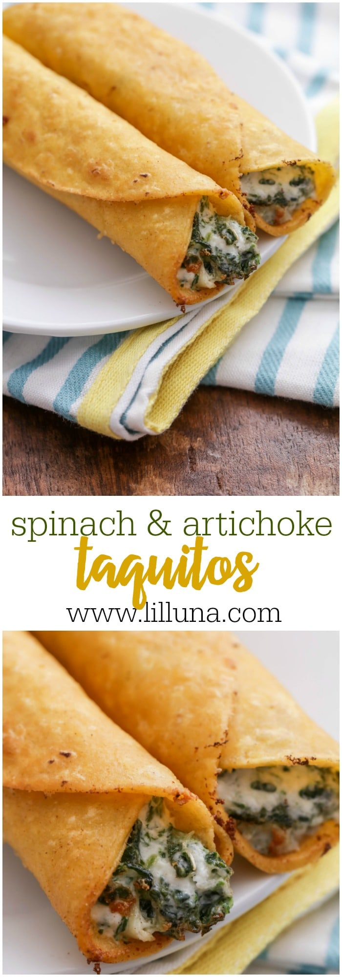 Cheesy Spinach and Artichoke Taquitos - these fried, rolled-up tacos are sure to be a hit whether served as appetizers or even for dinner!