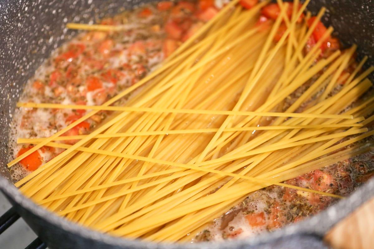 One pot bruschetta chicken pasta recipe