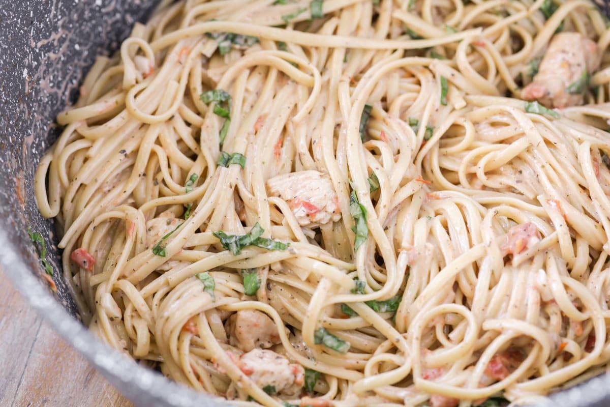 Close up of Bruschetta Chicken Pasta recipe