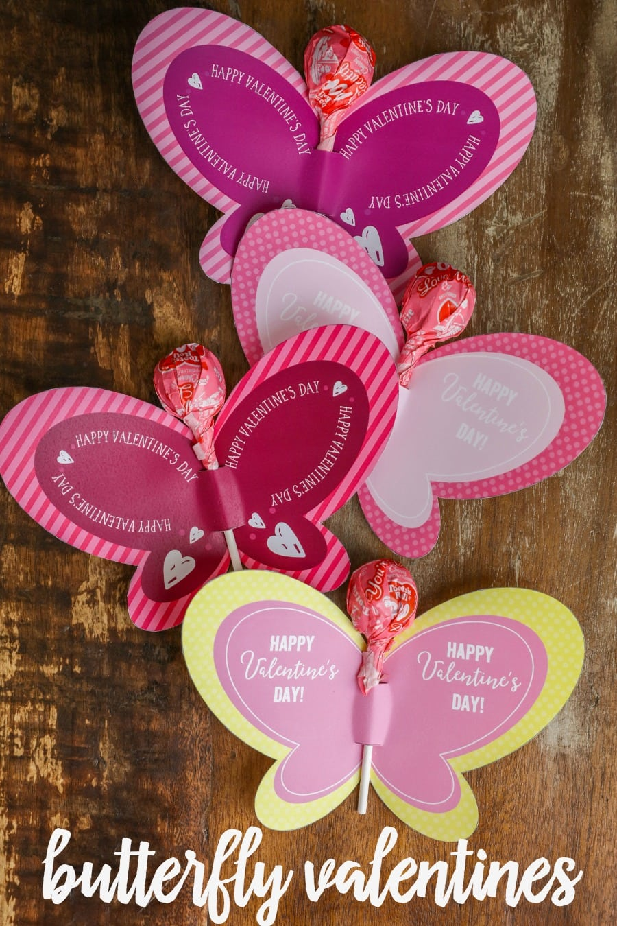 FREE Printable Butterfly Valentines - just print and a sucker for a super cute and fun Valentine!