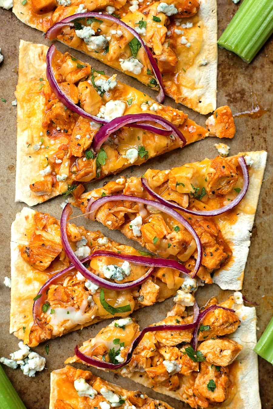 Lightened Up Flatbread Pizzas | Buffalo Chicken Pizza - a lighter version that is full of flavor!