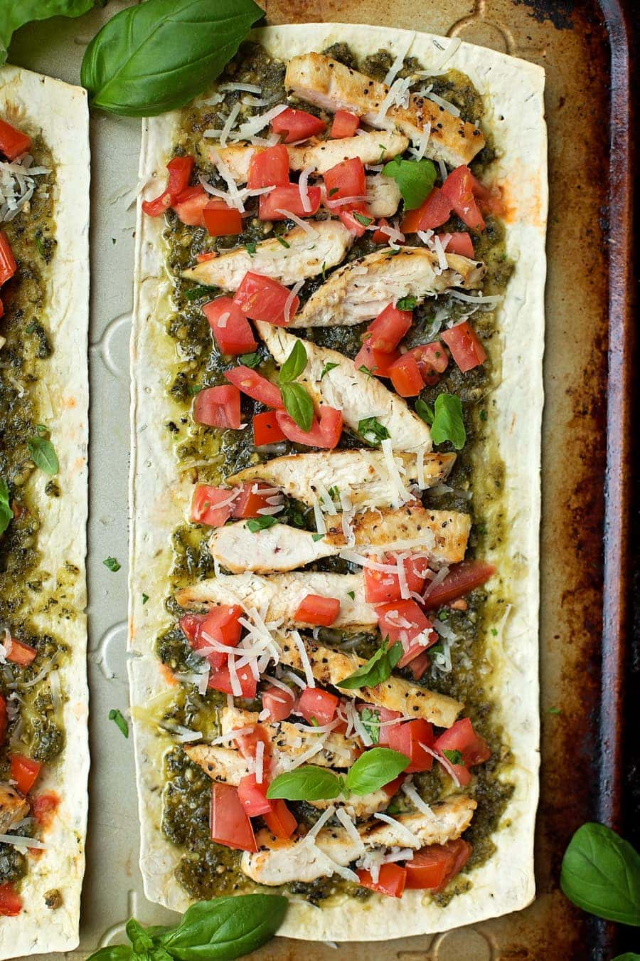 Lightened Up Flatbread Pizzas | Chicken Pesto Pizza - full of flavor and not on calories!