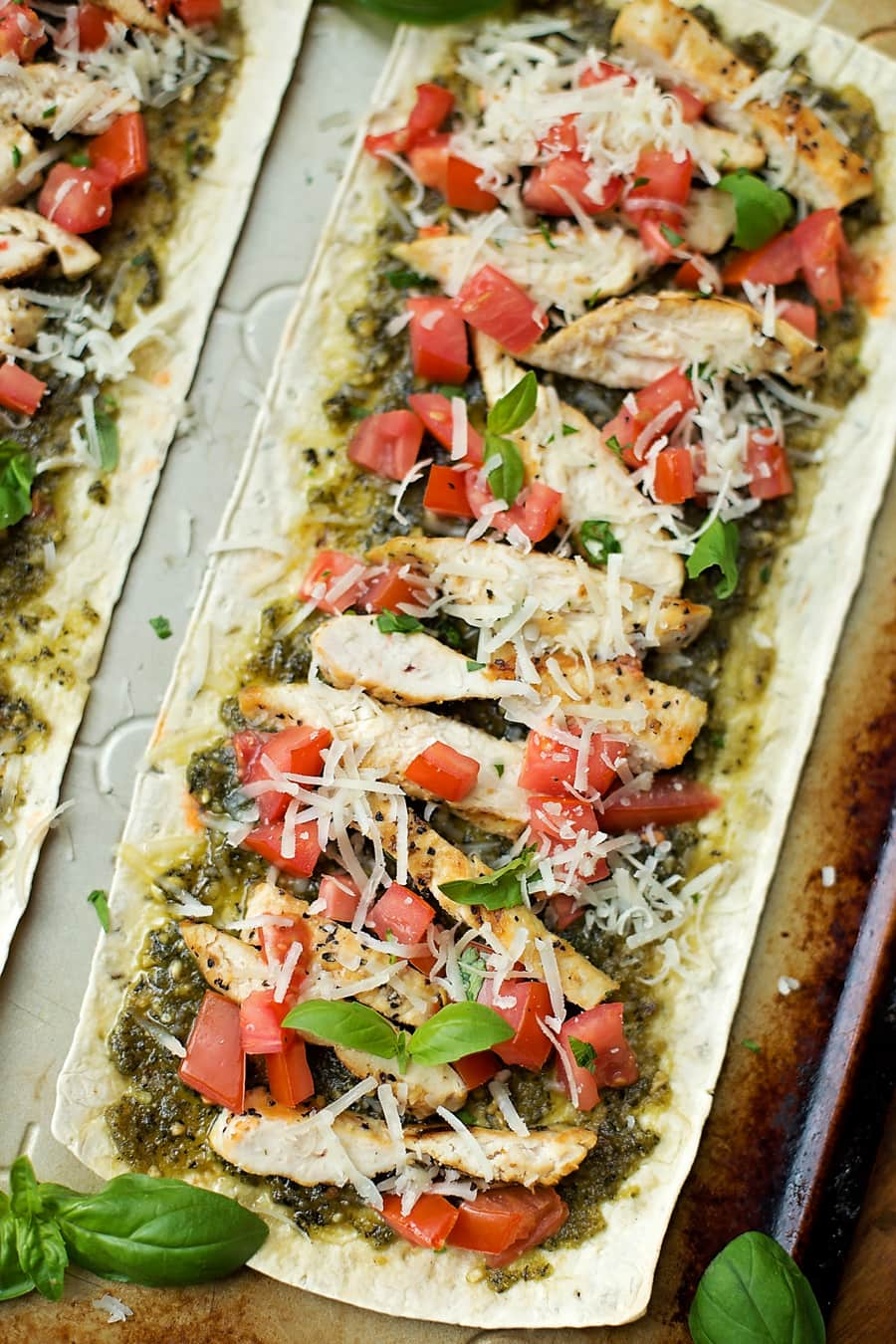 Artisan Thin Pizza Flatbreads | Chicken Pesto Pizza - full of flavor and not on calories!