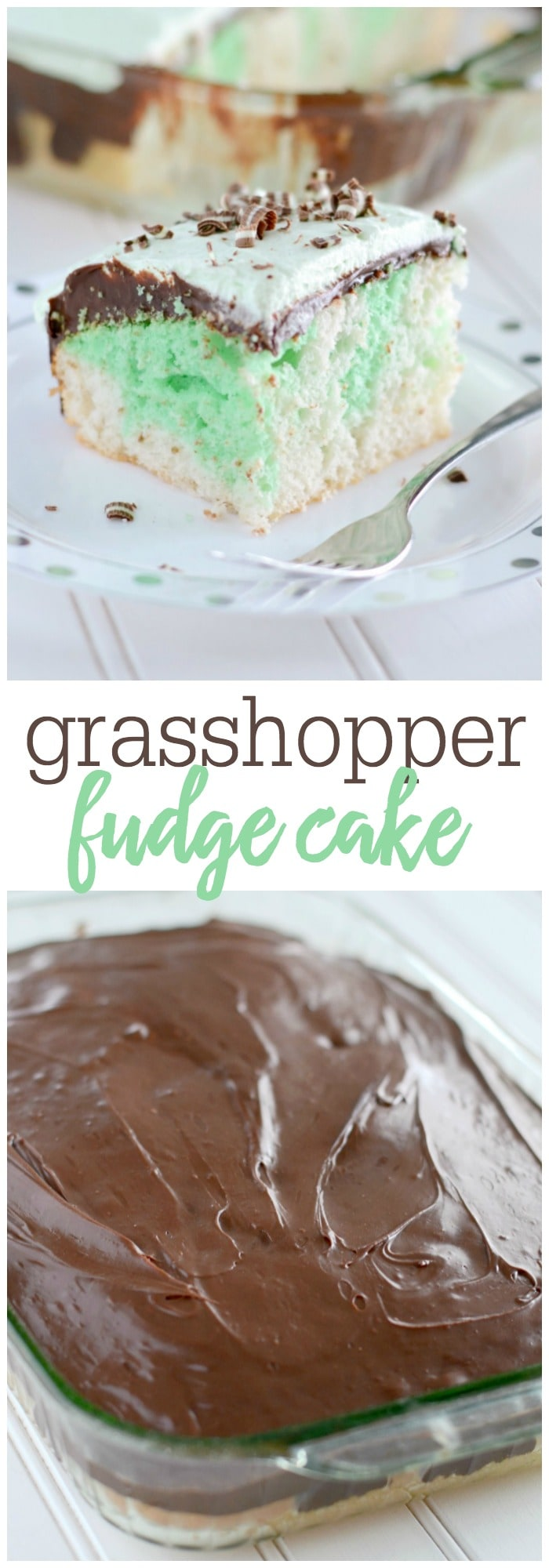 Grasshopper Fudge Cake - this light and fluffy cake is a perfect cake for St. Patrick's Day. Just the right amount of mint extract in the cake, topped with a double layer made of chocolate frosting and minty whipped cream!