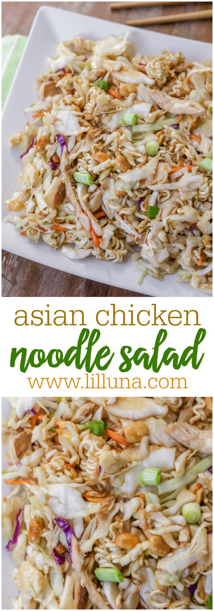 Asian Chicken Noodle Salad made with cabbage, ramen noodles, peanuts, chicken and topped with a homemade sesame dressing.