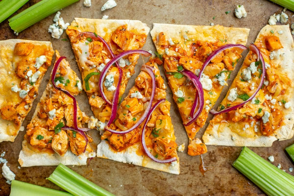 Buffalo chicken flatout flatbread pizza cut into slices