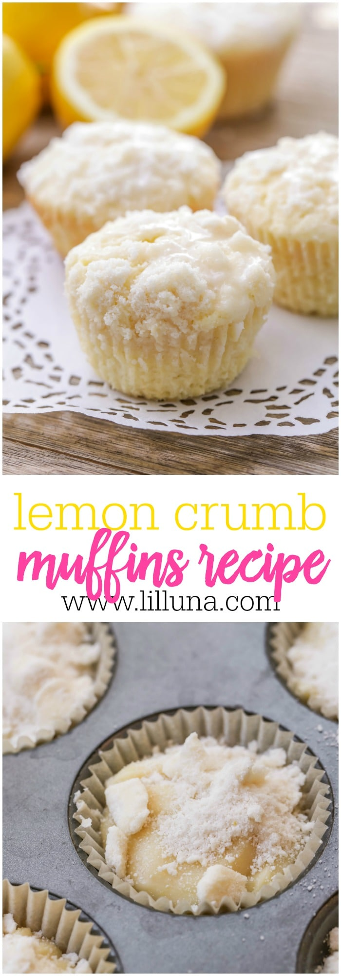 Lemon Crumb Muffins - these soft, delicious muffins are topped with crumbs and a delicious lemon glaze making them irresistible!