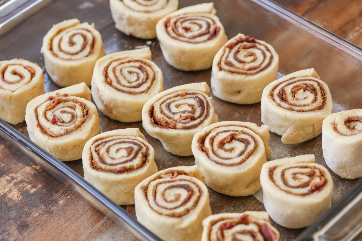 uncooked maple bacon cinnamon rolls