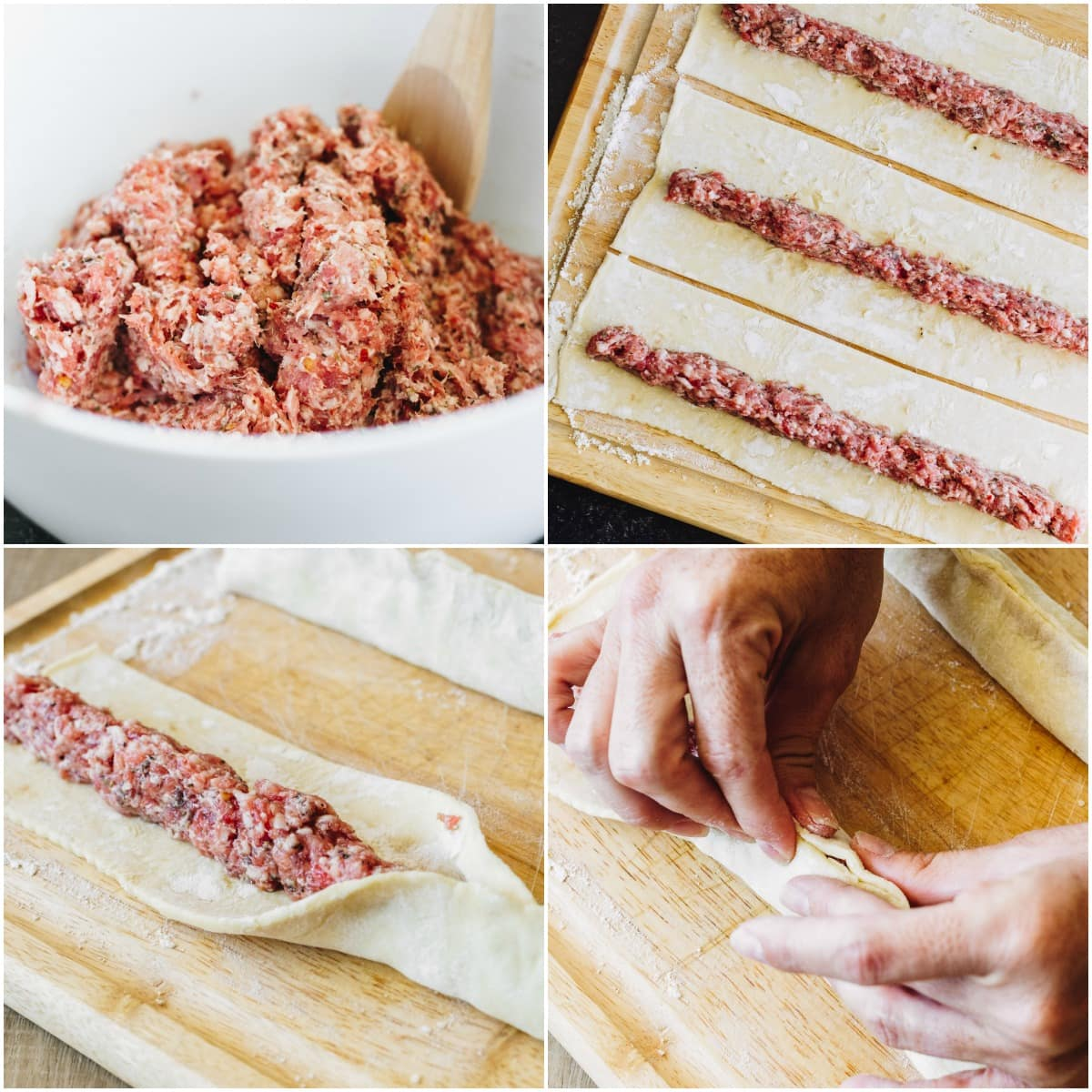 Step by step pictures of making puff pastry sausage rolls