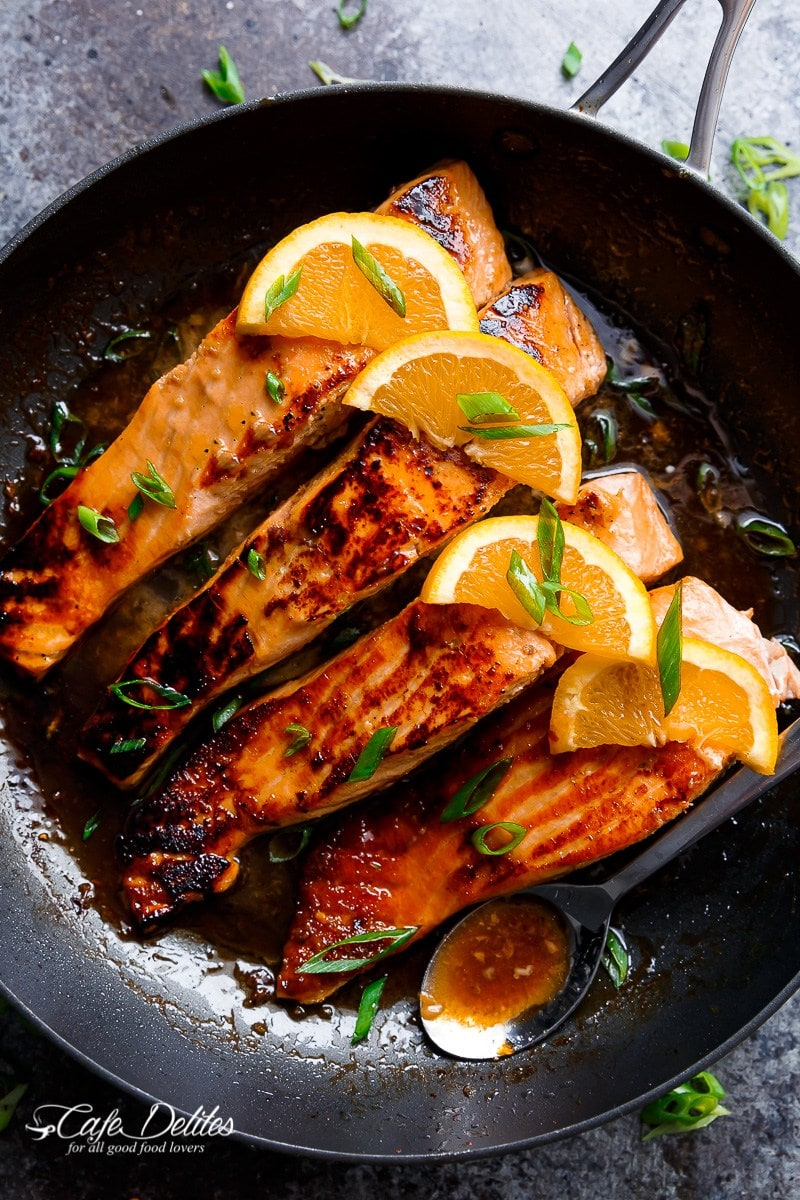 Crispy Honey Orange Glazed Salmon
