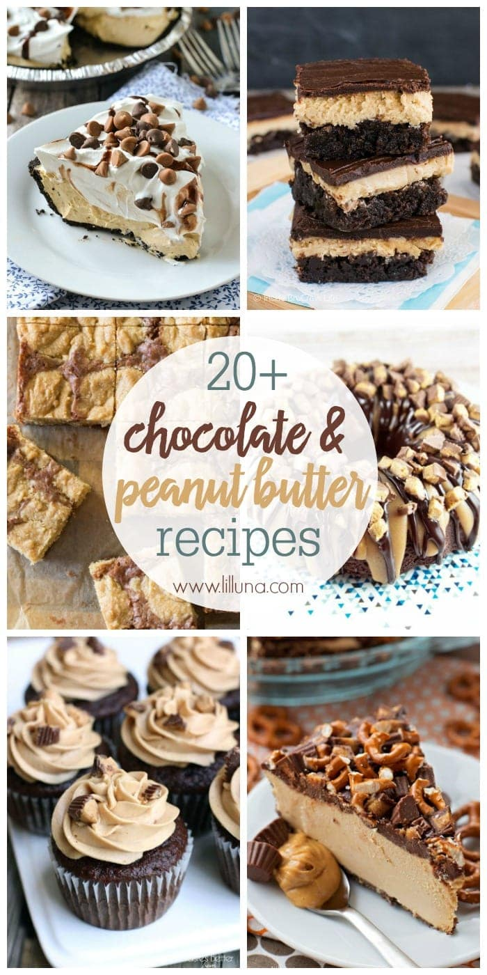 20+ Chocolate and Peanut Butter Desserts to satisfy all of your chocolate and PB fixes!! From pies and brownies, to cookies and cupcakes... We've got you covered.
