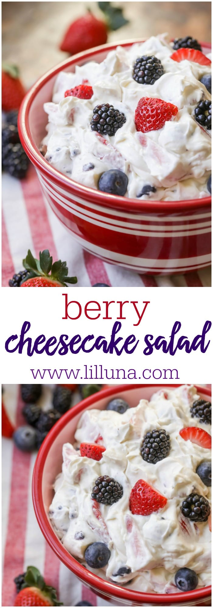 Berry Cheesecake Salad - a fluffy cheesecake-like treat filled with your favorite berries. It's perfect on it's own or in crepes!
