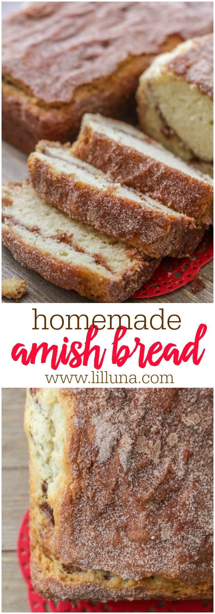 Homemade Amish Bread - seriously one of the easiest bread recipes you'll ever try! Super soft and fluffy bread covered in an irresistible cinnamon sugar mixture! The secret to the fluffiness is the buttermilk in the dough!