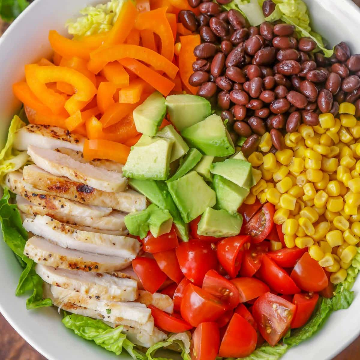 Southwest Salad recipe ingredients in bowl
