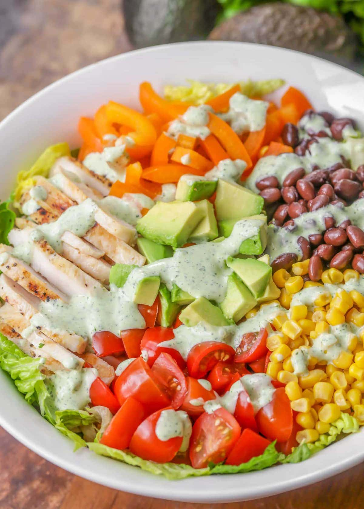Southwest chopped salad with cilantro ranch dressing
