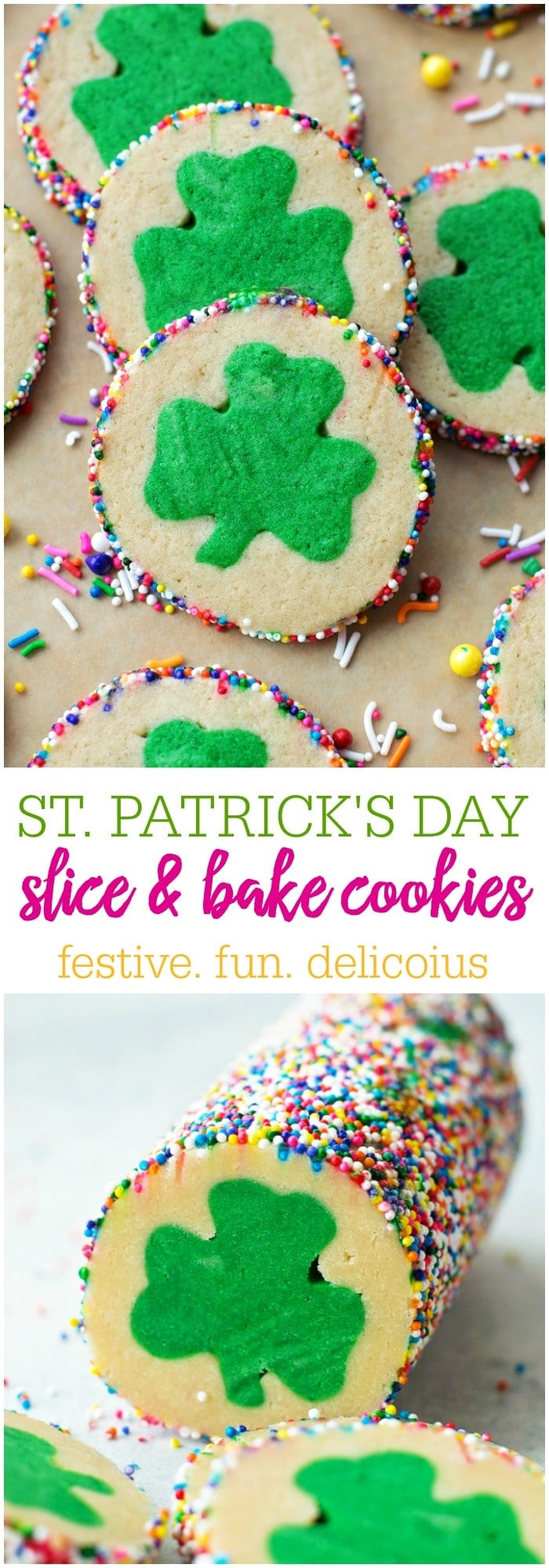 St. Patrick's Day Slice and Bake Cookies - the perfect treat to make for the March holiday!