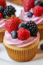 Vanilla Cupcakes with Berry Buttercream Frosting