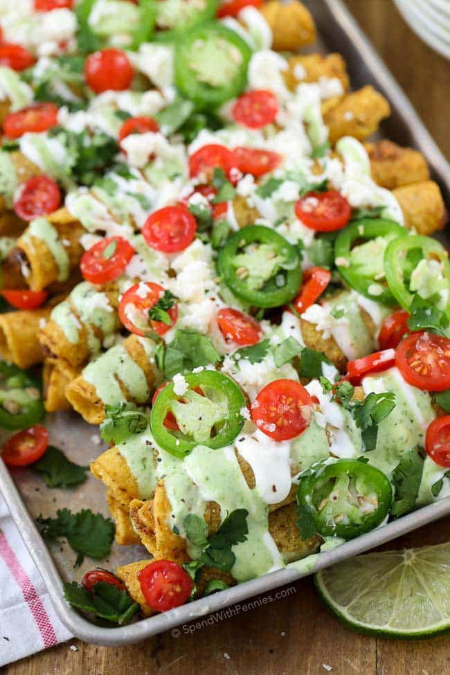 Loaded Taquitos with Creamy Jalapeno Ranch