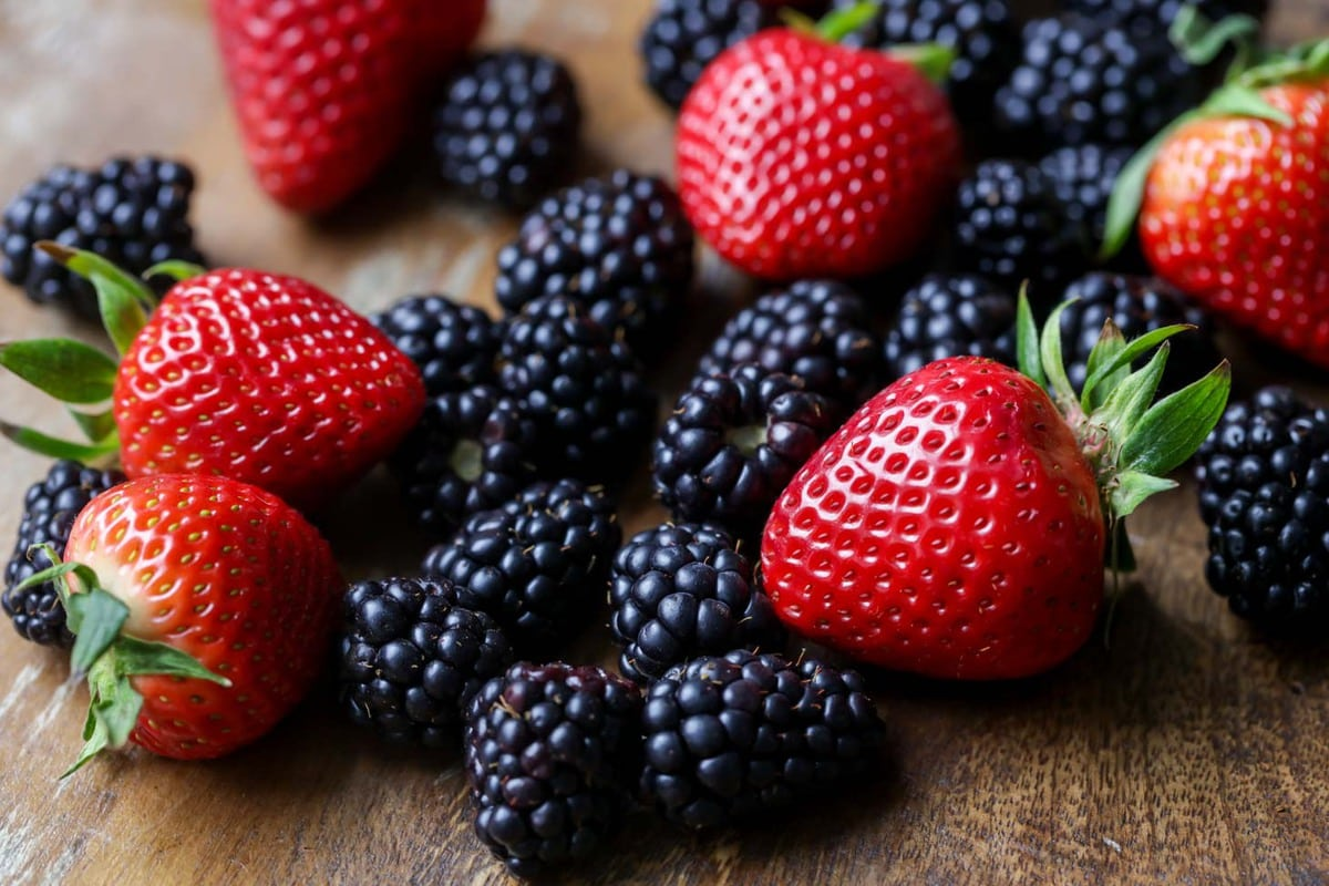 Fresh berries for cheesecake salad