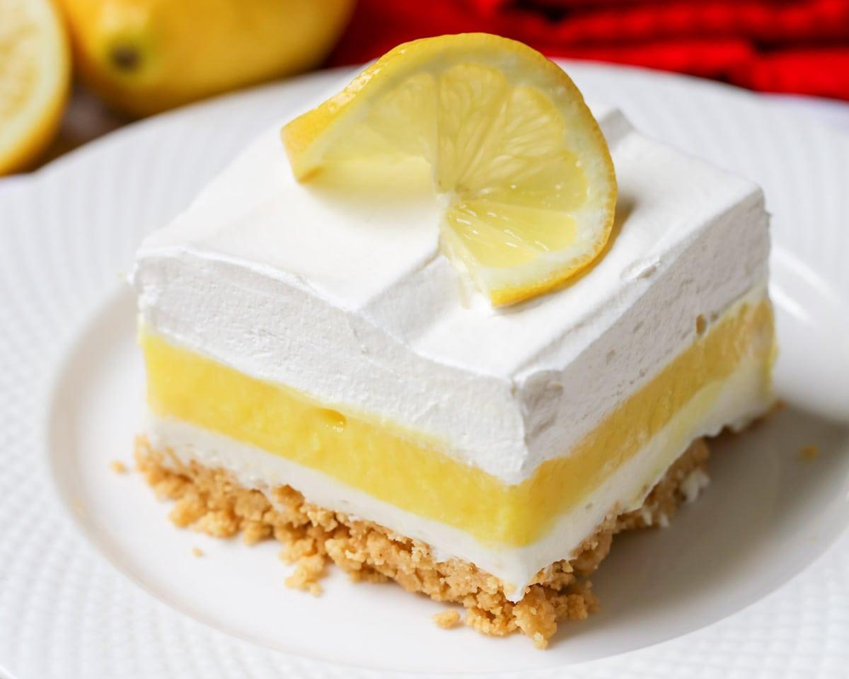 Lemon Lush dessert on plate