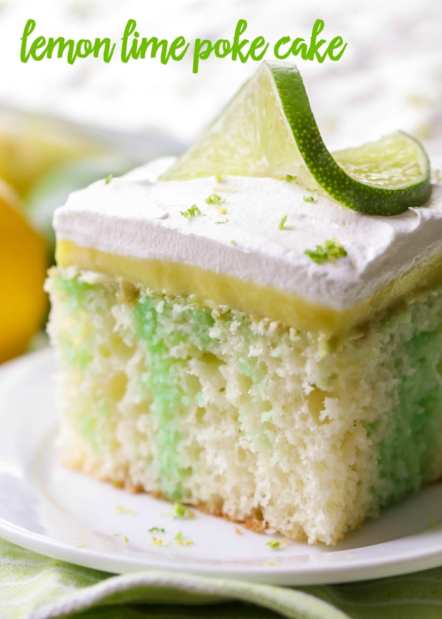 Soft and delicious Lemon Lime Poke Cake. Full of lime and topped with a creamy lemon pudding and topped with whipped cream and zest!