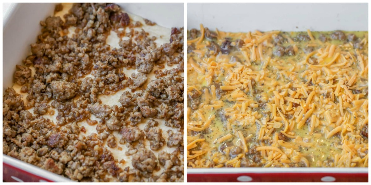 Sausage and Breakfast Casserole process shots