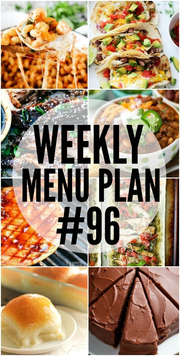Weekly Menu Plan - a delicious collection of dinner, side dish and dessert recipes to help you plan your weekly menu.