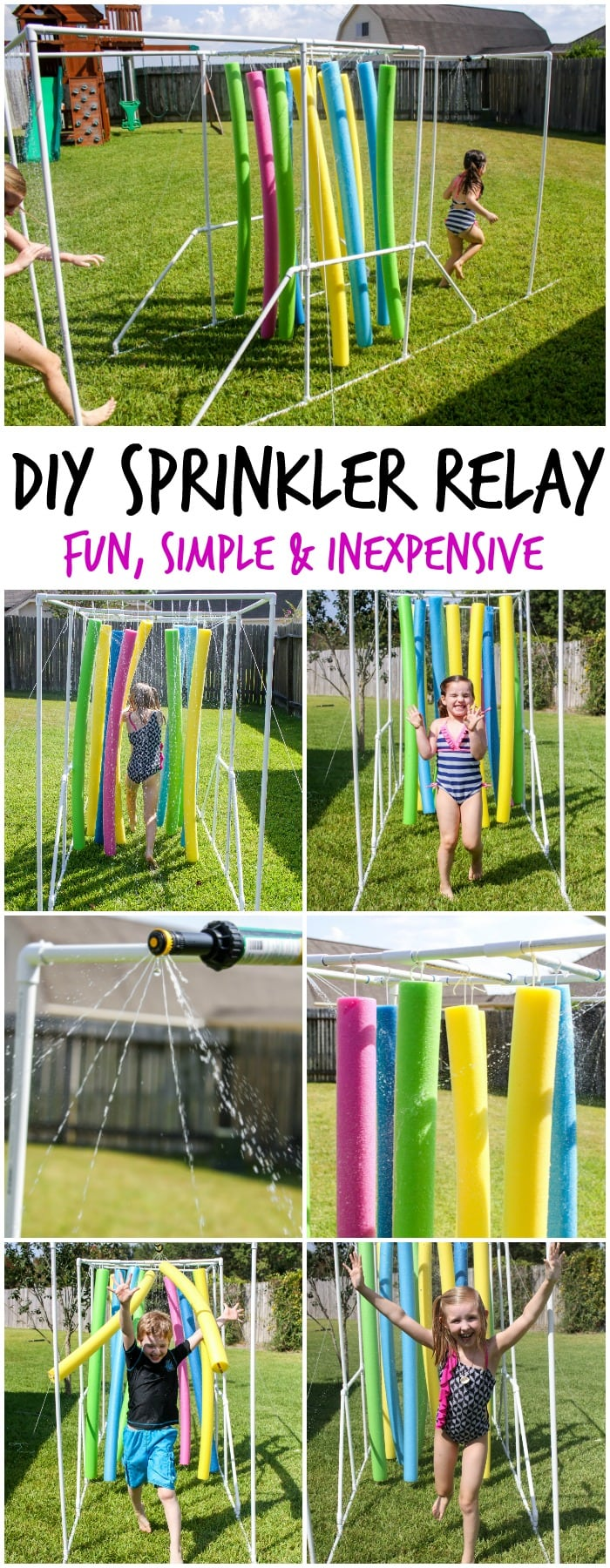 DIY Sprinkler Relay - a fun summer activity for kids that is inexpensive and provides hours of entertainment!