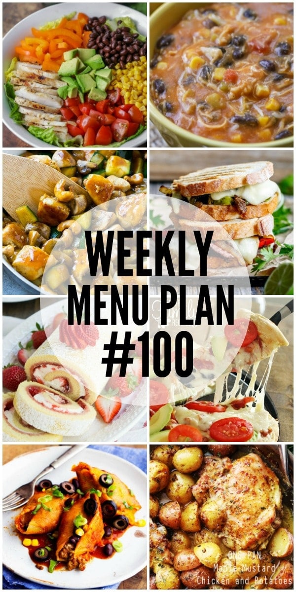 A weekly menu plan made up of delicious dinner, side dish and dessert recipes to help you with your weekly meal planning.