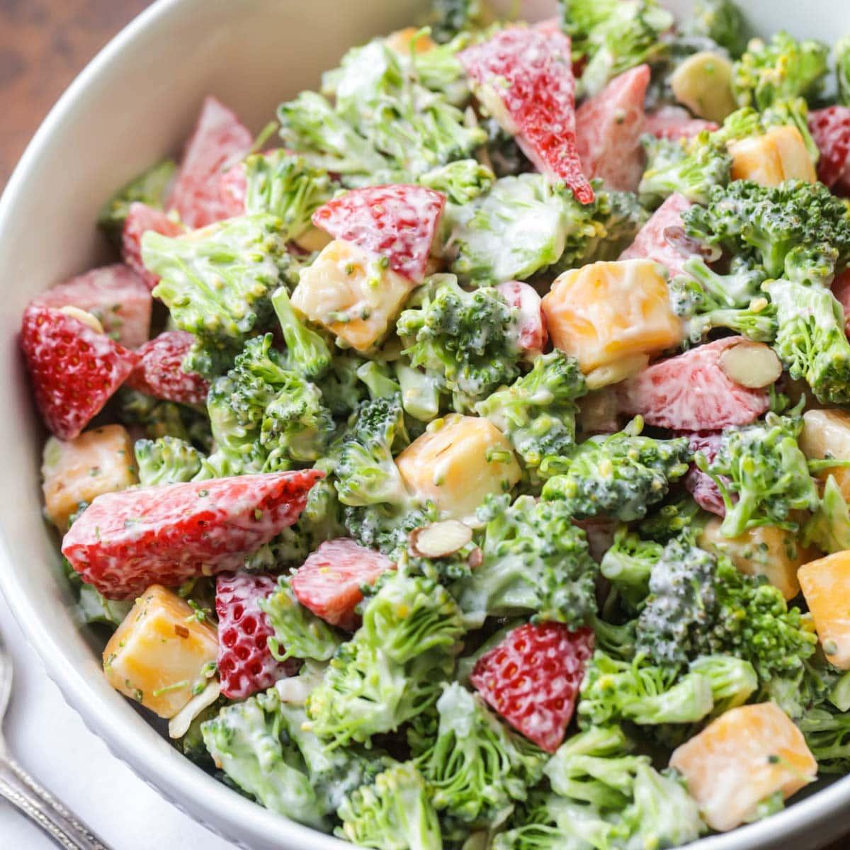 Broccoli strawberry salad close up image