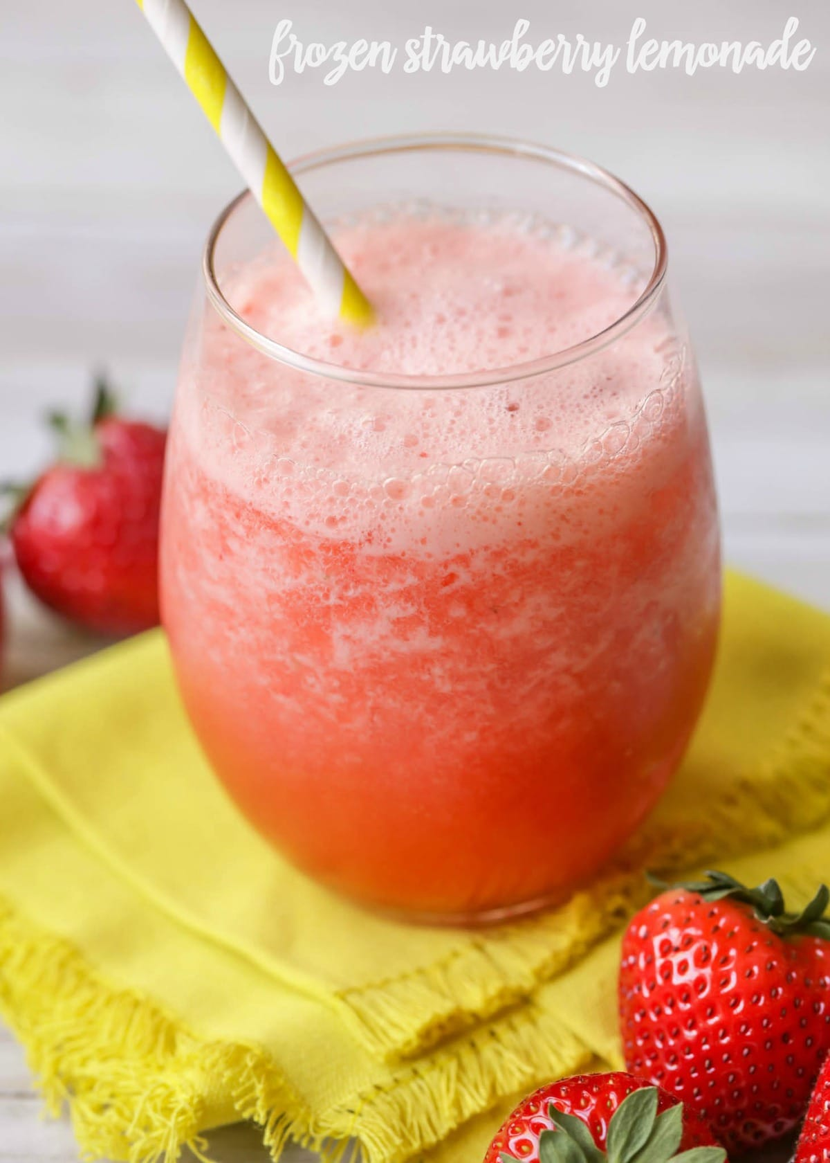 Frozen Strawberry Lemonade - this takes minutes to make and is filled with lemonade, strawberries, ice and pineapple juice.