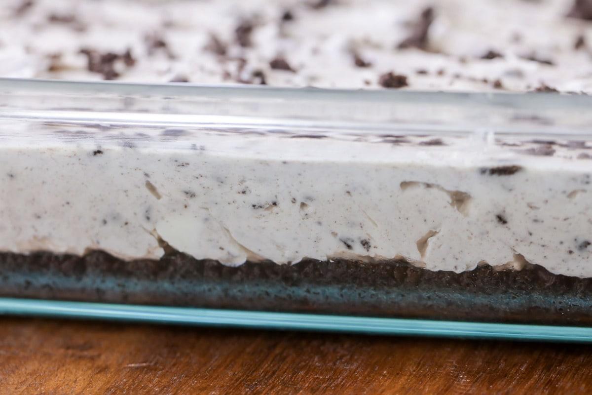 Oreo Cheesecake in a glass 9x13 pan