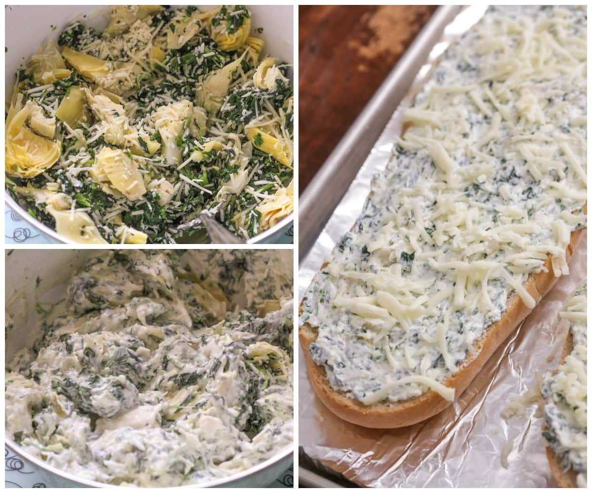 How to make spinach artichoke bread - process shots