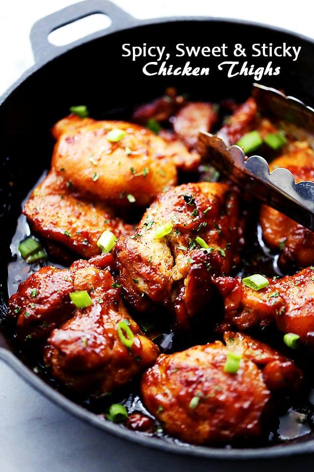 Spicy, Sweet & Sticky Chicken Thighs