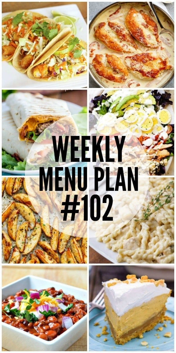 Weekly Menu Plan - a delicious collection of dinner, side dish and dessert recipes to help you plan your weekly meals and make life easier.