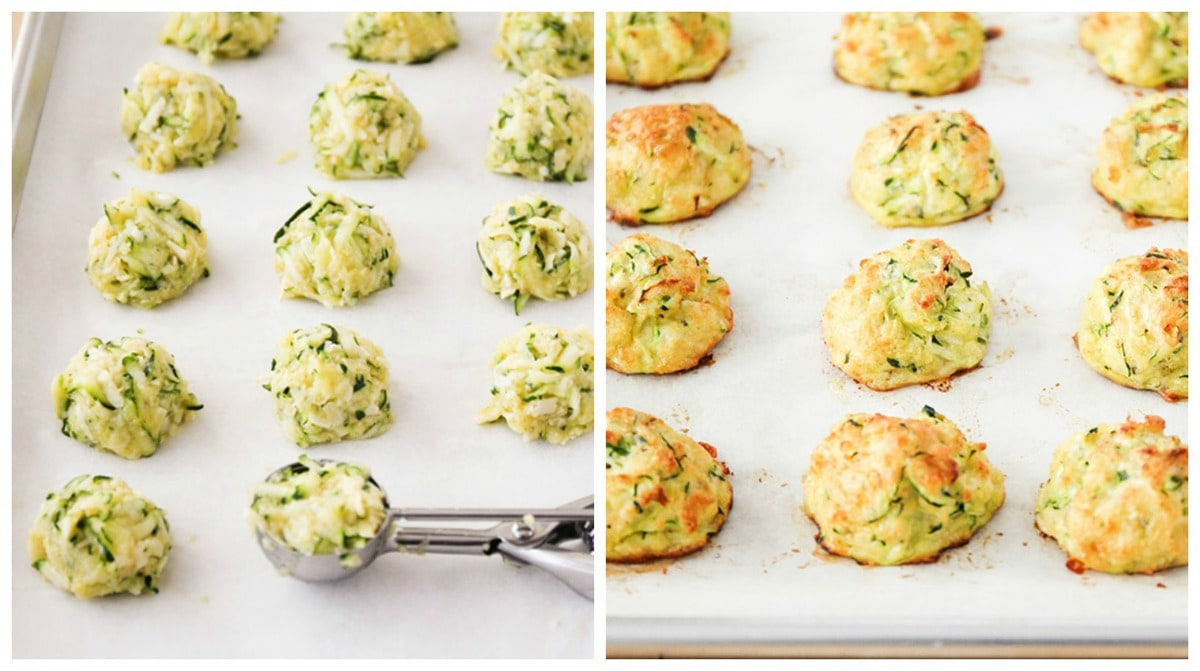 Scooping zucchini tater tots onto a baking sheet
