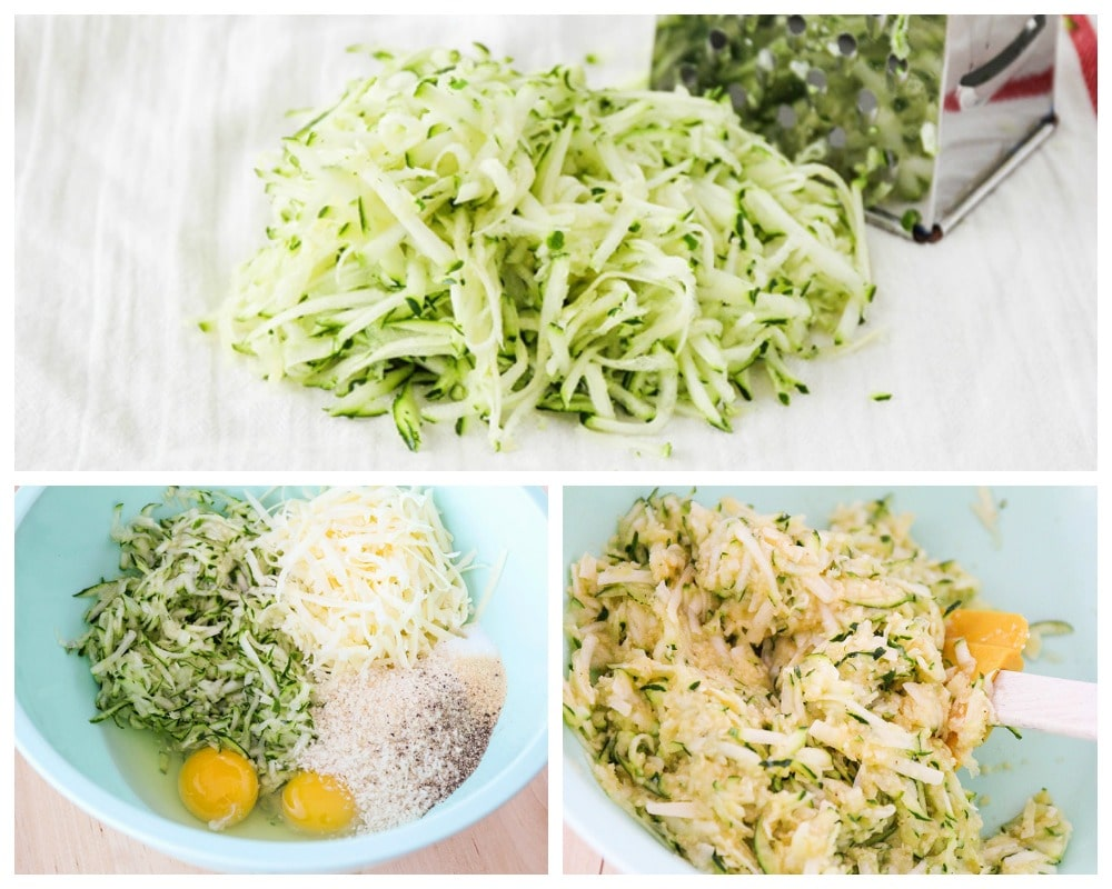 Step by step photos of how to make zucchini tots