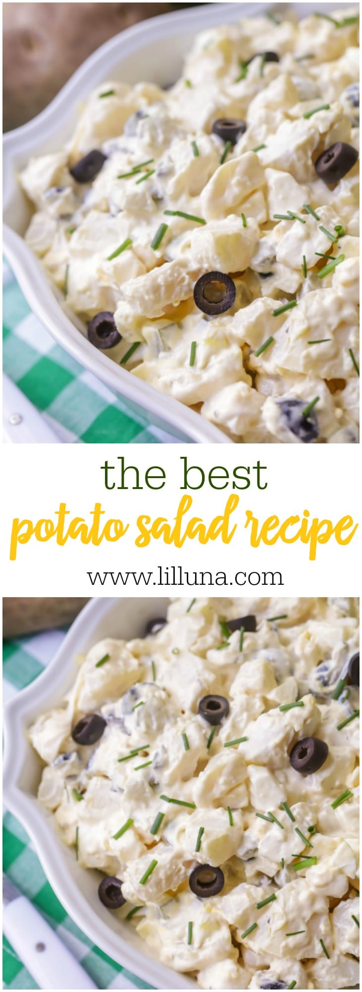 Our all-time favorite Potato Salad - it's simple, flavorful and filled with chunks of potatoes, eggs and olives - perfect for any event!