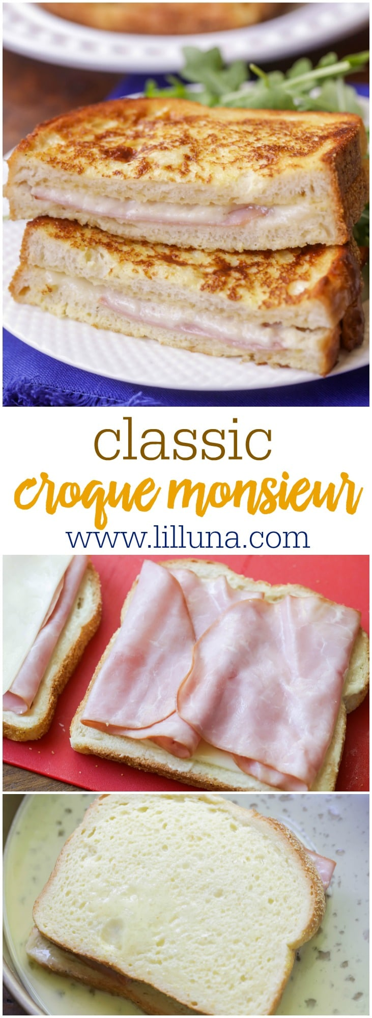 Easy Croque Monsieur - a baked or fried boiled ham and cheese sandwich that is delicious!