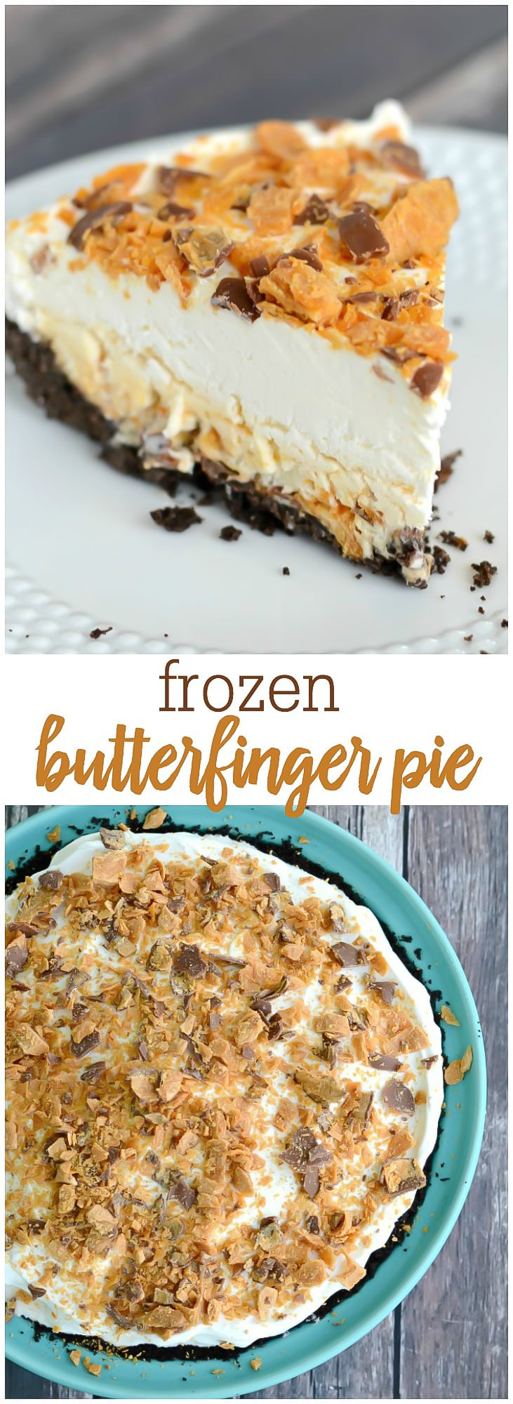 Frozen Butterfinger Pie - With a chocolate crust, a homemade Butterfinger ice cream filling, fluffy topping, and even more Butterfingers on top, every single bite of this pie is unbelievably delicious!