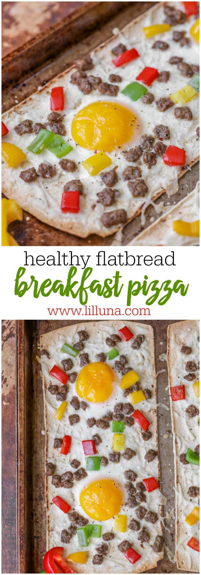 Delicious Healthy Flatbread Breakfast Pizzas - topped with cheese, sausage, peppers and eggs and only 210 calories per serving!