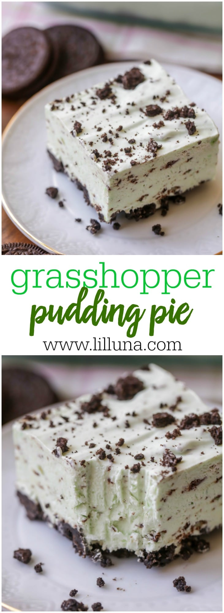 Grasshopper Pudding Pie - A delicious COLD dessert perfect for summer time! A mixture of cool whip, pistachio pudding mix, mint extract, all on top of a yummy oreo crust!